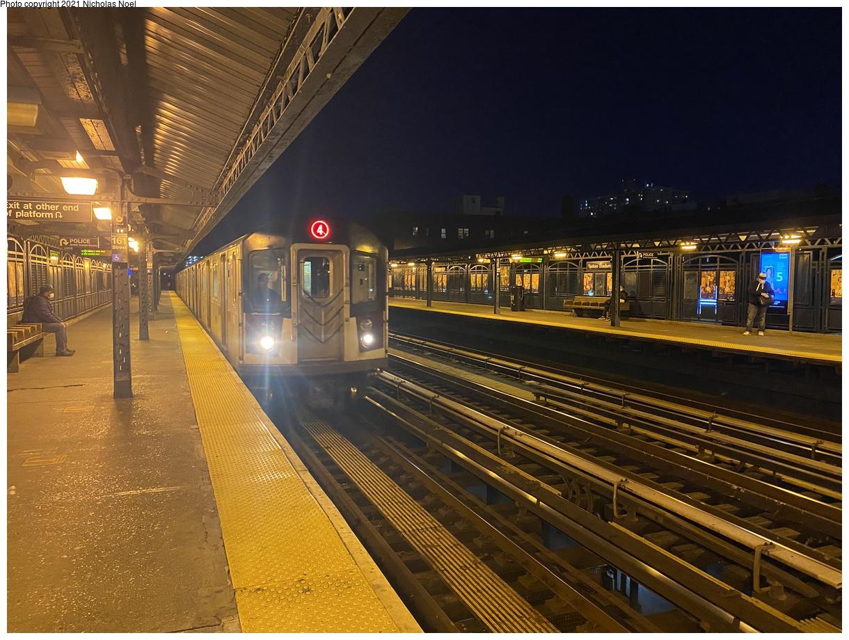 (455k, 1220x920)<br><b>Country:</b> United States<br><b>City:</b> New York<br><b>System:</b> New York City Transit<br><b>Line:</b> IRT Woodlawn Line<br><b>Location:</b> 161st Street-River Avenue (Yankee Stadium)<br><b>Route:</b> 4<br><b>Car:</b> R-142A (Option Order, Kawasaki, 2002-2003) 7641 <br><b>Photo by:</b> Nicholas Noel<br><b>Date:</b> 12/10/2020<br><b>Viewed (this week/total):</b> 2 / 458