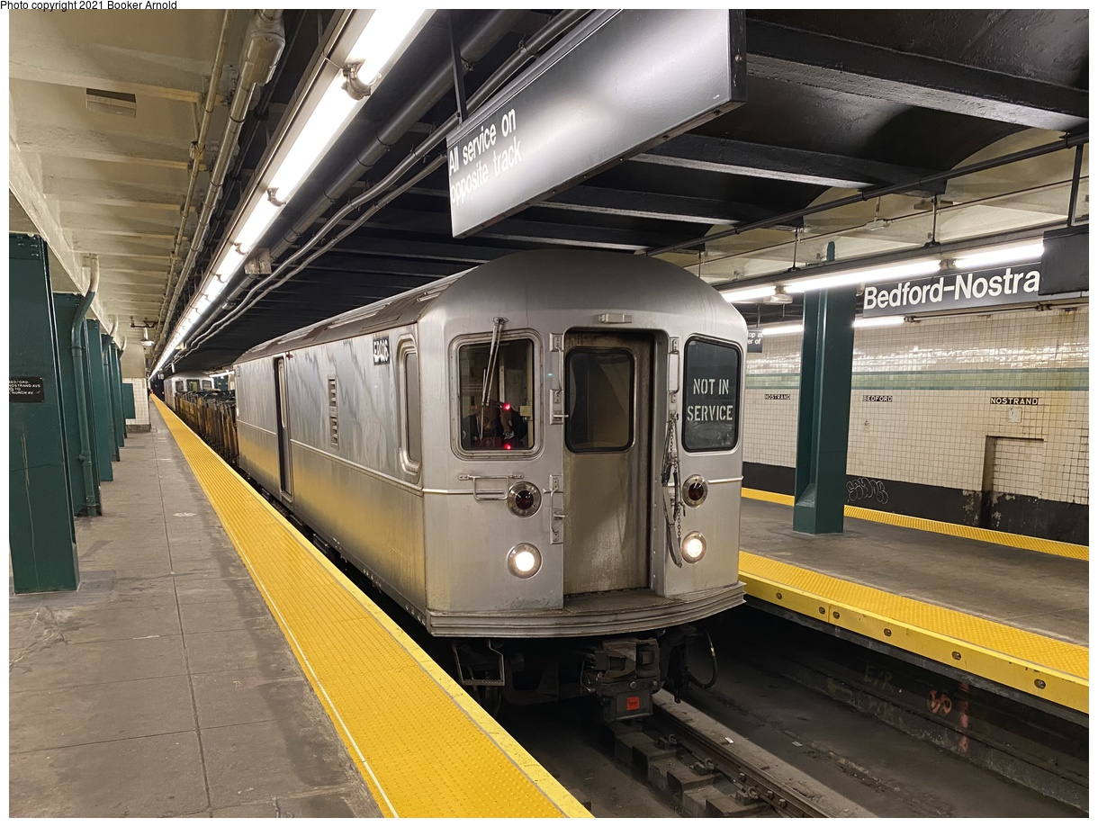 (425k, 1220x919)<br><b>Country:</b> United States<br><b>City:</b> New York<br><b>System:</b> New York City Transit<br><b>Line:</b> IND Crosstown Line<br><b>Location:</b> Bedford/Nostrand Aves.<br><b>Route:</b> Work Service<br><b>Car:</b> R-127/R-134 (Kawasaki, 1991-1996) EP016 <br><b>Photo by:</b> Booker Arnold<br><b>Date:</b> 1/10/2020<br><b>Notes:</b> Refuse Collection Train<br><b>Viewed (this week/total):</b> 4 / 1016
