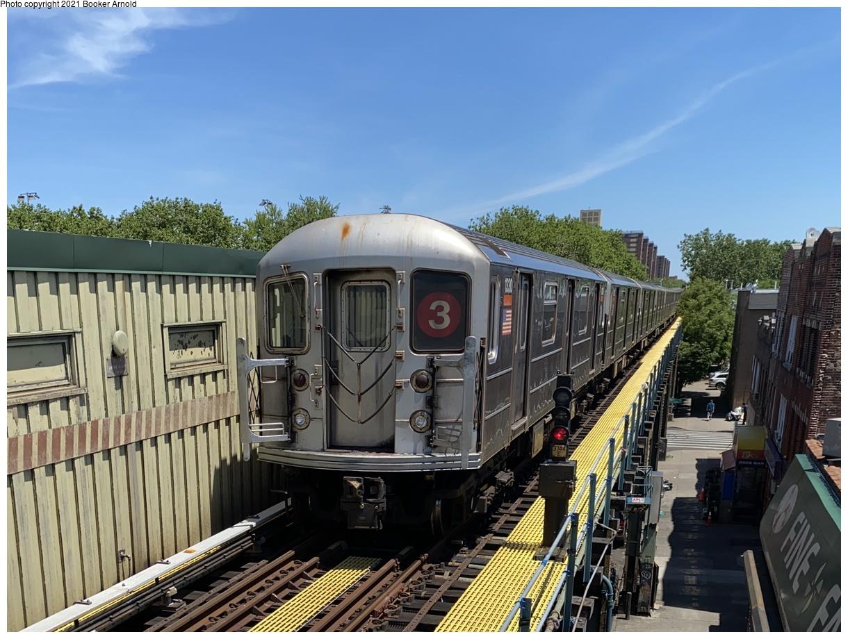 (386k, 1220x920)<br><b>Country:</b> United States<br><b>City:</b> New York<br><b>System:</b> New York City Transit<br><b>Line:</b> IRT Brooklyn Line<br><b>Location:</b> Saratoga Avenue<br><b>Route:</b> 3<br><b>Car:</b> R-62 (Kawasaki, 1983-1985) 1330 <br><b>Photo by:</b> Booker Arnold<br><b>Date:</b> 6/8/2020<br><b>Viewed (this week/total):</b> 3 / 352