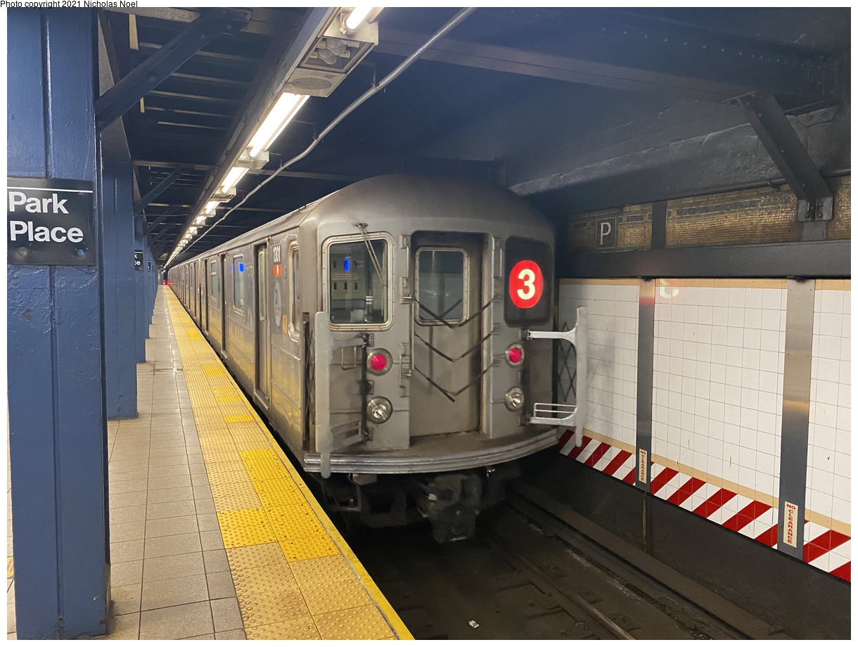 (380k, 1220x920)<br><b>Country:</b> United States<br><b>City:</b> New York<br><b>System:</b> New York City Transit<br><b>Line:</b> IRT West Side Line<br><b>Location:</b> Park Place<br><b>Route:</b> 3<br><b>Car:</b> R-62 (Kawasaki, 1983-1985) 1301 <br><b>Photo by:</b> Nicholas Noel<br><b>Date:</b> 1/27/2021<br><b>Viewed (this week/total):</b> 5 / 476