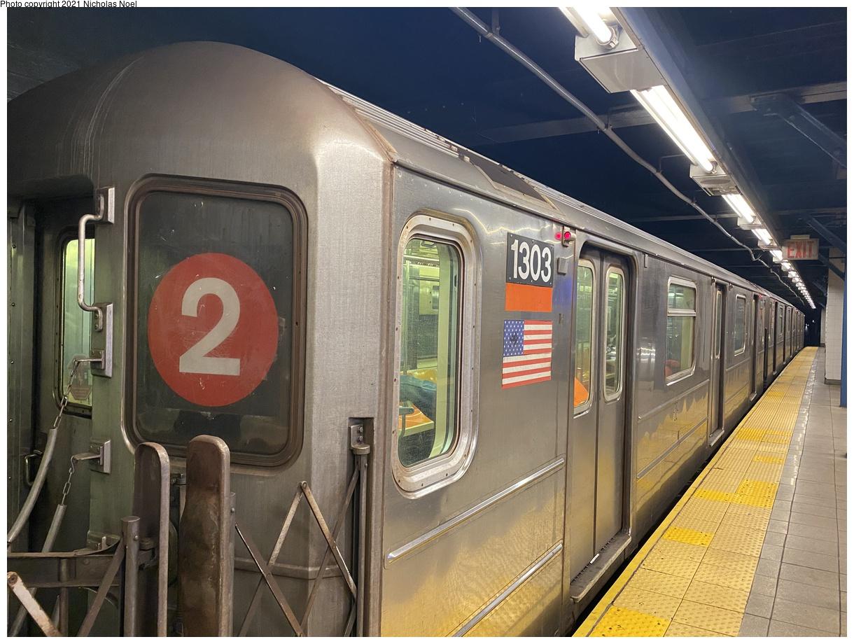 (413k, 1220x920)<br><b>Country:</b> United States<br><b>City:</b> New York<br><b>System:</b> New York City Transit<br><b>Line:</b> IRT West Side Line<br><b>Location:</b> Park Place<br><b>Route:</b> 3<br><b>Car:</b> R-62 (Kawasaki, 1983-1985) 1303 <br><b>Photo by:</b> Nicholas Noel<br><b>Date:</b> 1/27/2021<br><b>Viewed (this week/total):</b> 3 / 691