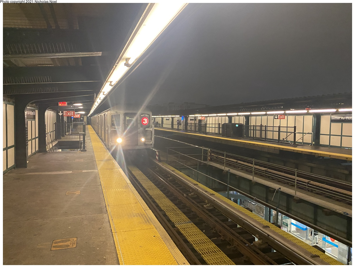 (391k, 1220x920)<br><b>Country:</b> United States<br><b>City:</b> New York<br><b>System:</b> New York City Transit<br><b>Line:</b> IRT Brooklyn Line<br><b>Location:</b> Sutter Avenue/Rutland Road<br><b>Route:</b> 3<br><b>Car:</b> R-62 (Kawasaki, 1983-1985) 1491 <br><b>Photo by:</b> Nicholas Noel<br><b>Date:</b> 1/27/2021<br><b>Viewed (this week/total):</b> 2 / 345