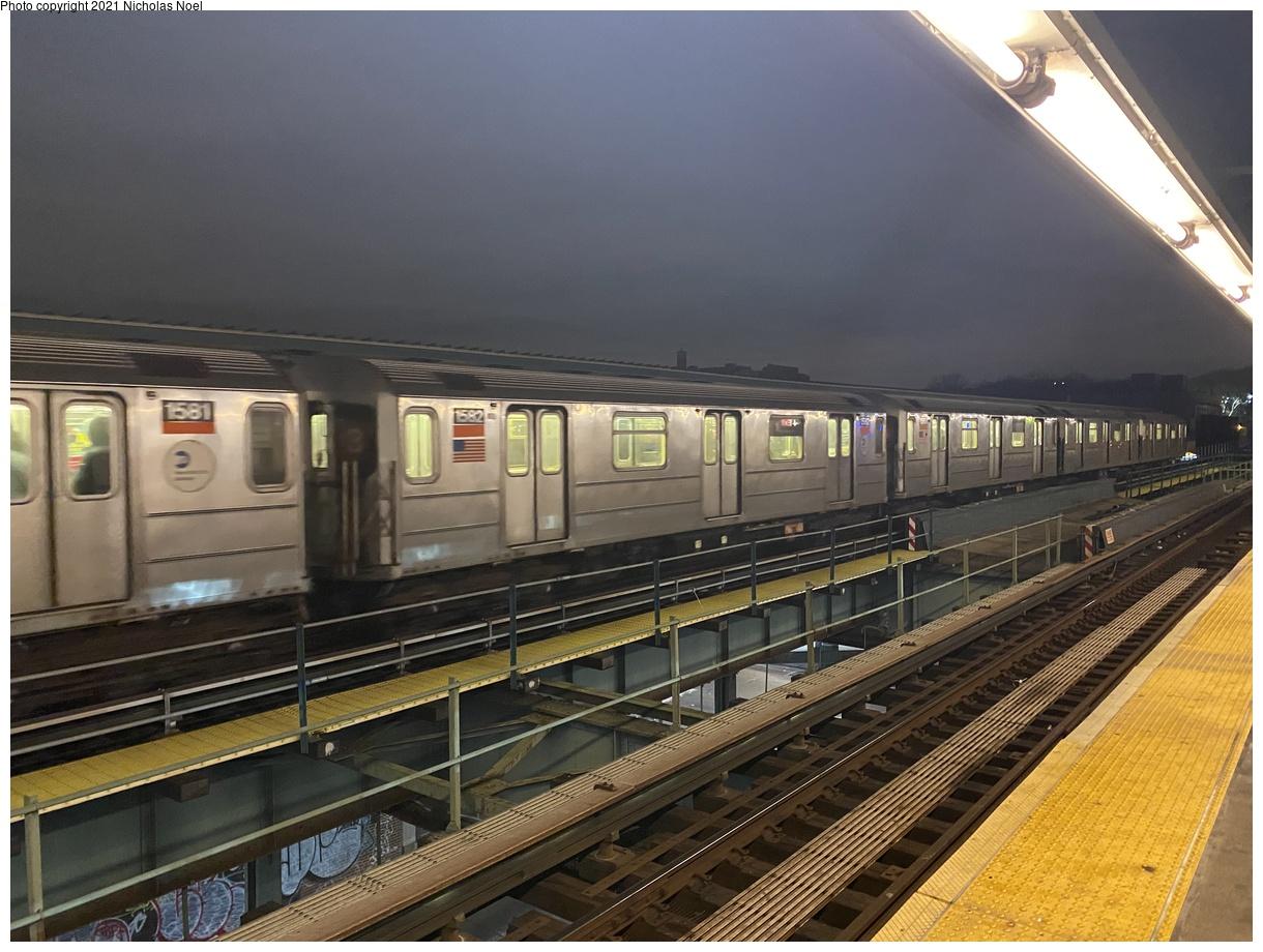 (384k, 1220x920)<br><b>Country:</b> United States<br><b>City:</b> New York<br><b>System:</b> New York City Transit<br><b>Line:</b> IRT Brooklyn Line<br><b>Location:</b> Sutter Avenue/Rutland Road<br><b>Route:</b> 3<br><b>Car:</b> R-62 (Kawasaki, 1983-1985) 1582 <br><b>Photo by:</b> Nicholas Noel<br><b>Date:</b> 1/27/2021<br><b>Viewed (this week/total):</b> 1 / 299