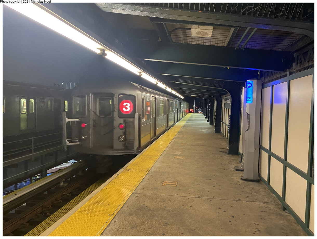 (387k, 1220x920)<br><b>Country:</b> United States<br><b>City:</b> New York<br><b>System:</b> New York City Transit<br><b>Line:</b> IRT Brooklyn Line<br><b>Location:</b> Sutter Avenue/Rutland Road<br><b>Route:</b> 3<br><b>Car:</b> R-62 (Kawasaki, 1983-1985) 1600 <br><b>Photo by:</b> Nicholas Noel<br><b>Date:</b> 1/27/2021<br><b>Viewed (this week/total):</b> 1 / 280