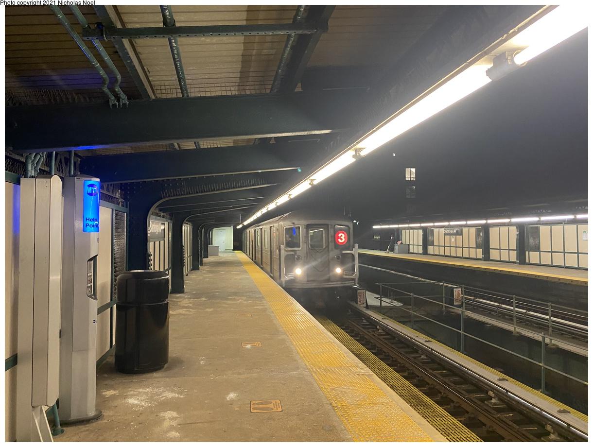 (375k, 1220x920)<br><b>Country:</b> United States<br><b>City:</b> New York<br><b>System:</b> New York City Transit<br><b>Line:</b> IRT Brooklyn Line<br><b>Location:</b> Saratoga Avenue<br><b>Route:</b> 3<br><b>Car:</b> R-62 (Kawasaki, 1983-1985)  <br><b>Photo by:</b> Nicholas Noel<br><b>Date:</b> 2/25/2021<br><b>Viewed (this week/total):</b> 0 / 108