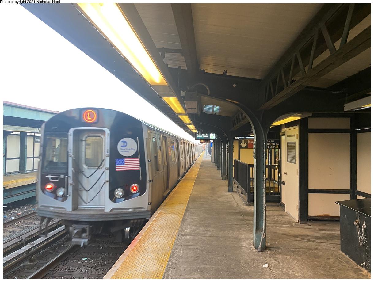 (368k, 1220x920)<br><b>Country:</b> United States<br><b>City:</b> New York<br><b>System:</b> New York City Transit<br><b>Line:</b> BMT Canarsie Line<br><b>Location:</b> New Lots Avenue<br><b>Route:</b> L<br><b>Car:</b> R-143 (Kawasaki, 2001-2002) 8119 <br><b>Photo by:</b> Nicholas Noel<br><b>Date:</b> 3/1/2021<br><b>Viewed (this week/total):</b> 0 / 135