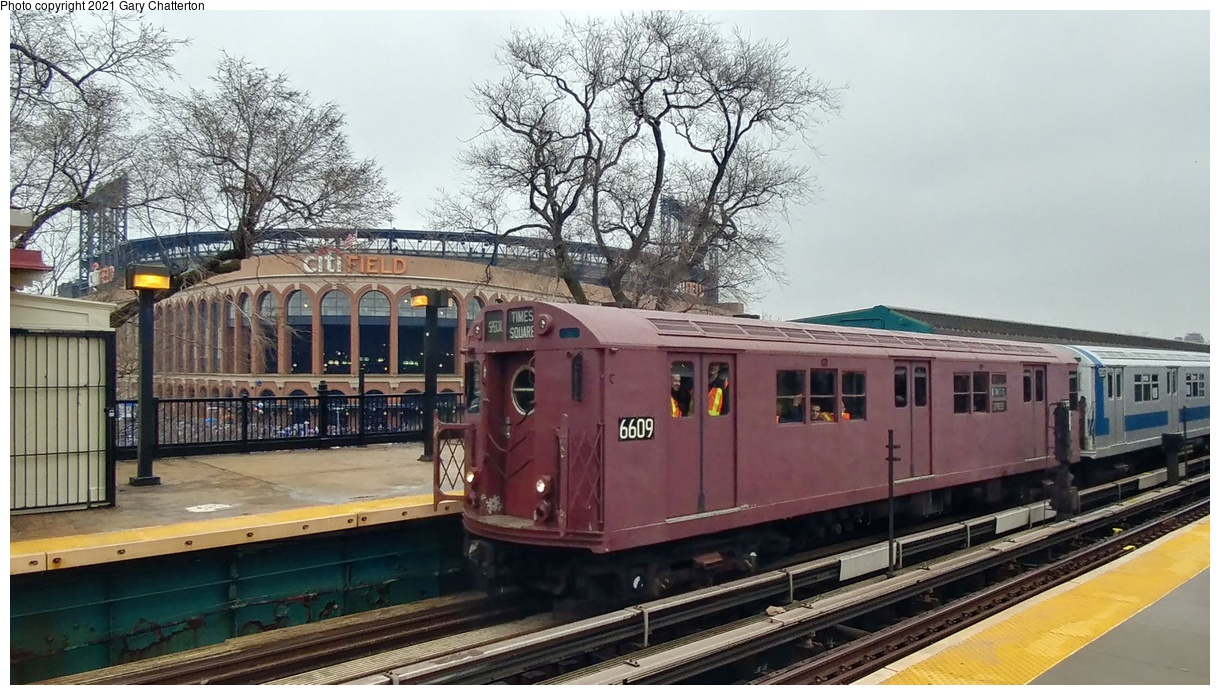 (355k, 1220x695)<br><b>Country:</b> United States<br><b>City:</b> New York<br><b>System:</b> New York City Transit<br><b>Line:</b> IRT Flushing Line<br><b>Location:</b> Willets Point/Mets (fmr. Shea Stadium)<br><b>Route:</b> Fan Trip<br><b>Car:</b> R-17 (St. Louis, 1955-56) 6609 <br><b>Photo by:</b> Gary Chatterton<br><b>Date:</b> 3/29/2018<br><b>Notes:</b> Mets opening day special.<br><b>Viewed (this week/total):</b> 1 / 181