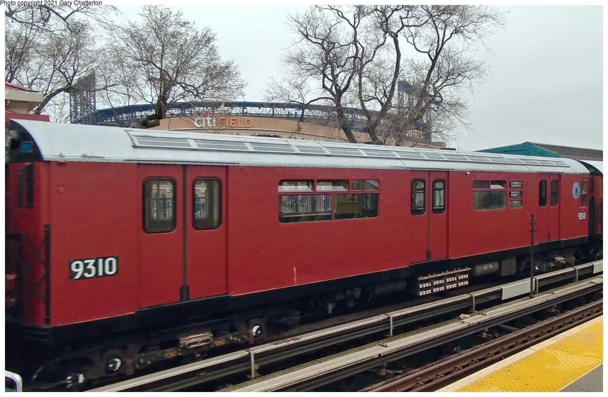 (383k, 1220x798)<br><b>Country:</b> United States<br><b>City:</b> New York<br><b>System:</b> New York City Transit<br><b>Line:</b> IRT Flushing Line<br><b>Location:</b> Willets Point/Mets (fmr. Shea Stadium)<br><b>Route:</b> Fan Trip<br><b>Car:</b> R-33 World's Fair (St. Louis, 1963-64) 9310 <br><b>Photo by:</b> Gary Chatterton<br><b>Date:</b> 3/29/2018<br><b>Notes:</b> Mets opening day special.<br><b>Viewed (this week/total):</b> 1 / 283