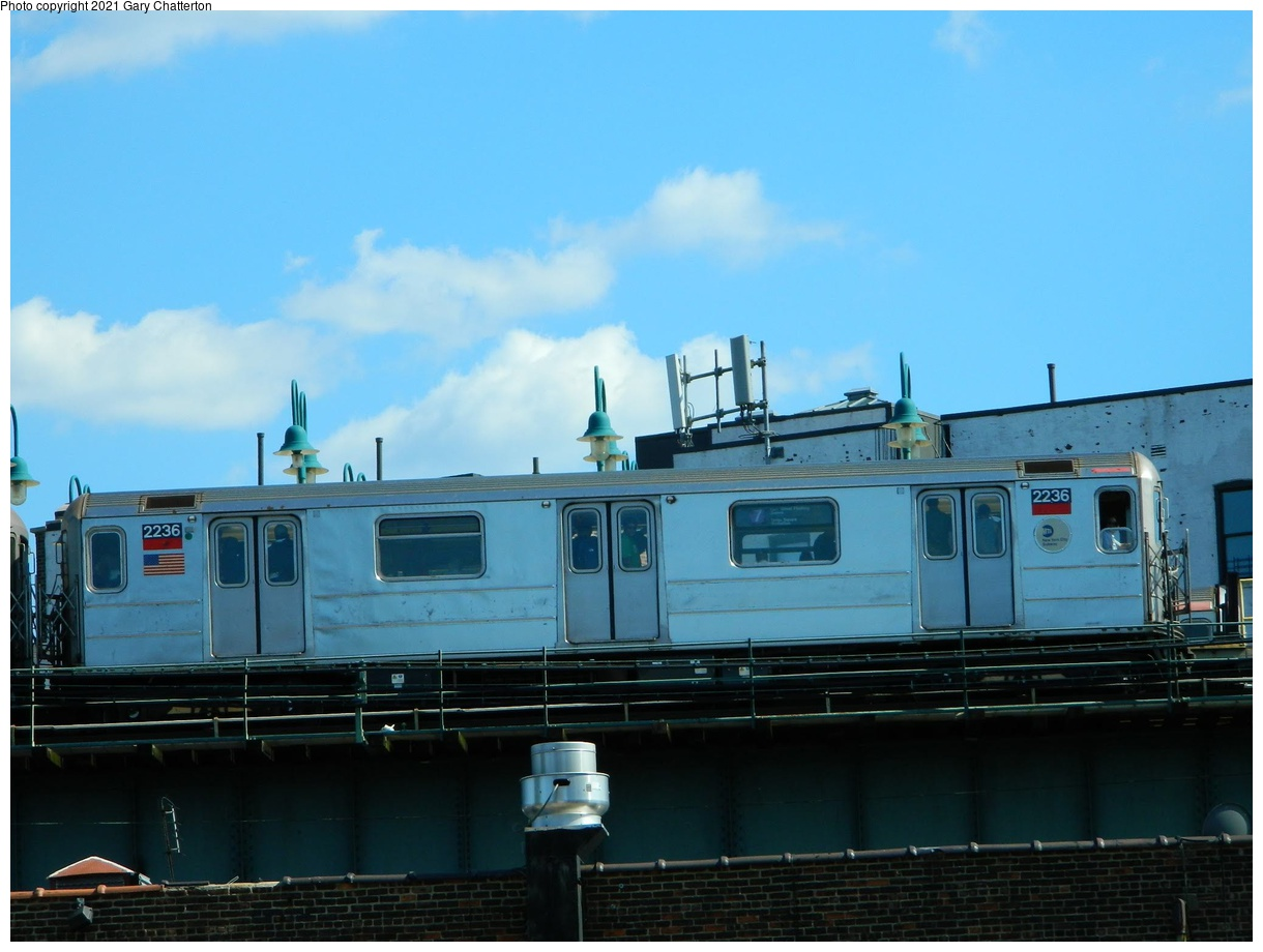 (271k, 1220x920)<br><b>Country:</b> United States<br><b>City:</b> New York<br><b>System:</b> New York City Transit<br><b>Line:</b> IRT Flushing Line<br><b>Location:</b> 61st Street/Woodside<br><b>Route:</b> 7<br><b>Car:</b> R-62A (Bombardier, 1984-1987) 2236 <br><b>Photo by:</b> Gary Chatterton<br><b>Date:</b> 6/15/2012<br><b>Viewed (this week/total):</b> 0 / 116