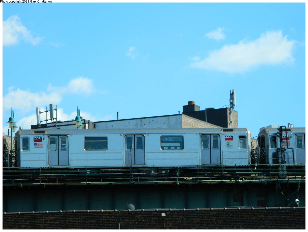 (238k, 1220x920)<br><b>Country:</b> United States<br><b>City:</b> New York<br><b>System:</b> New York City Transit<br><b>Line:</b> IRT Flushing Line<br><b>Location:</b> 61st Street/Woodside<br><b>Route:</b> 7<br><b>Car:</b> R-62A (Bombardier, 1984-1987) 2237 <br><b>Photo by:</b> Gary Chatterton<br><b>Date:</b> 6/15/2012<br><b>Viewed (this week/total):</b> 0 / 101