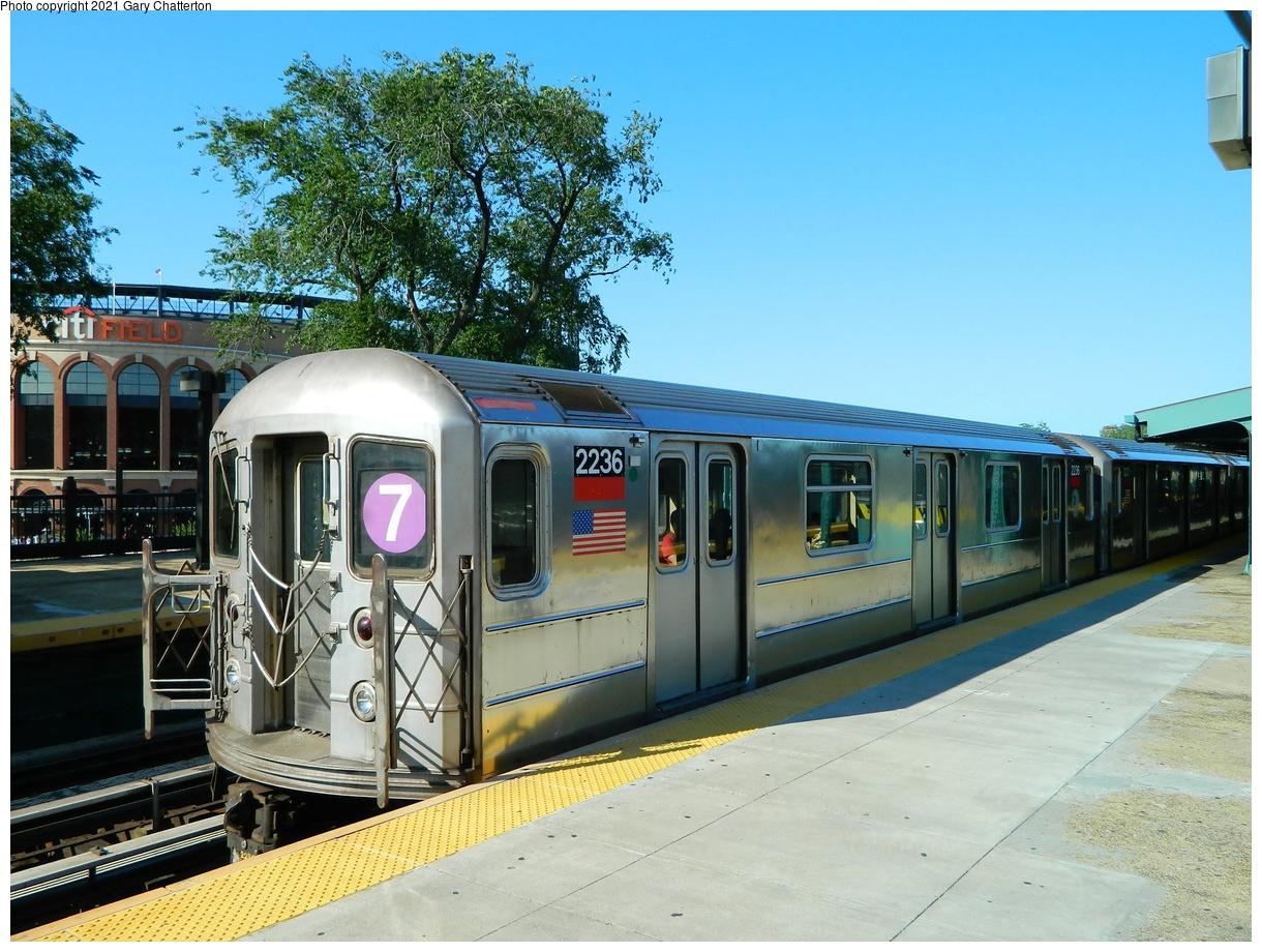 (421k, 1220x920)<br><b>Country:</b> United States<br><b>City:</b> New York<br><b>System:</b> New York City Transit<br><b>Line:</b> IRT Flushing Line<br><b>Location:</b> Willets Point/Mets (fmr. Shea Stadium)<br><b>Route:</b> 7<br><b>Car:</b> R-62A (Bombardier, 1984-1987) 2236 <br><b>Photo by:</b> Gary Chatterton<br><b>Date:</b> 6/15/2012<br><b>Viewed (this week/total):</b> 0 / 465