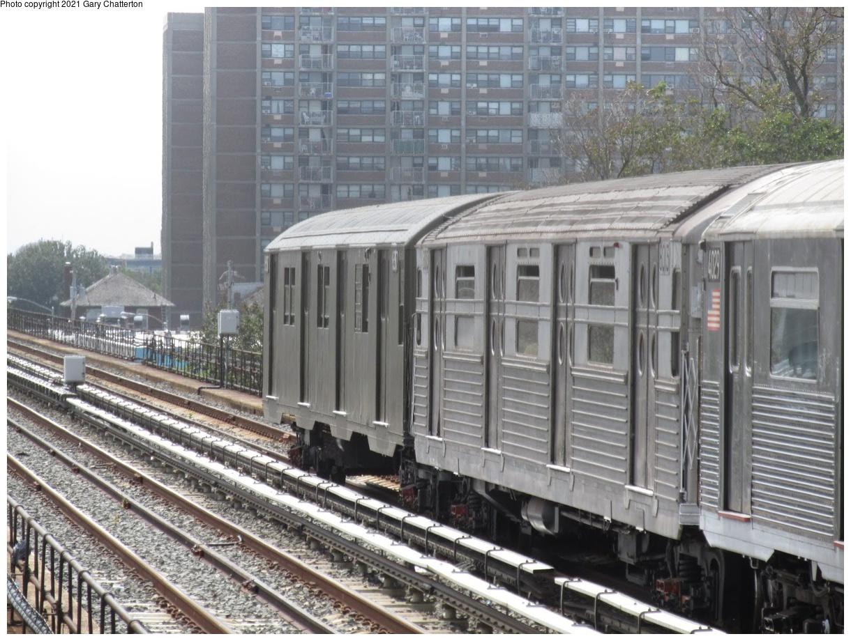 (413k, 1220x920)<br><b>Country:</b> United States<br><b>City:</b> New York<br><b>System:</b> New York City Transit<br><b>Line:</b> IND Rockaway Line<br><b>Location:</b> Beach 90th Street/Holland<br><b>Route:</b> Fan Trip<br><b>Car:</b> R-11 (Budd, 1949) 8013 <br><b>Photo by:</b> Gary Chatterton<br><b>Date:</b> 8/3/2014<br><b>Notes:</b> Train of Many Metals fantrip - R-16 6387, R-11 8013, R-38 4029.<br><b>Viewed (this week/total):</b> 0 / 510