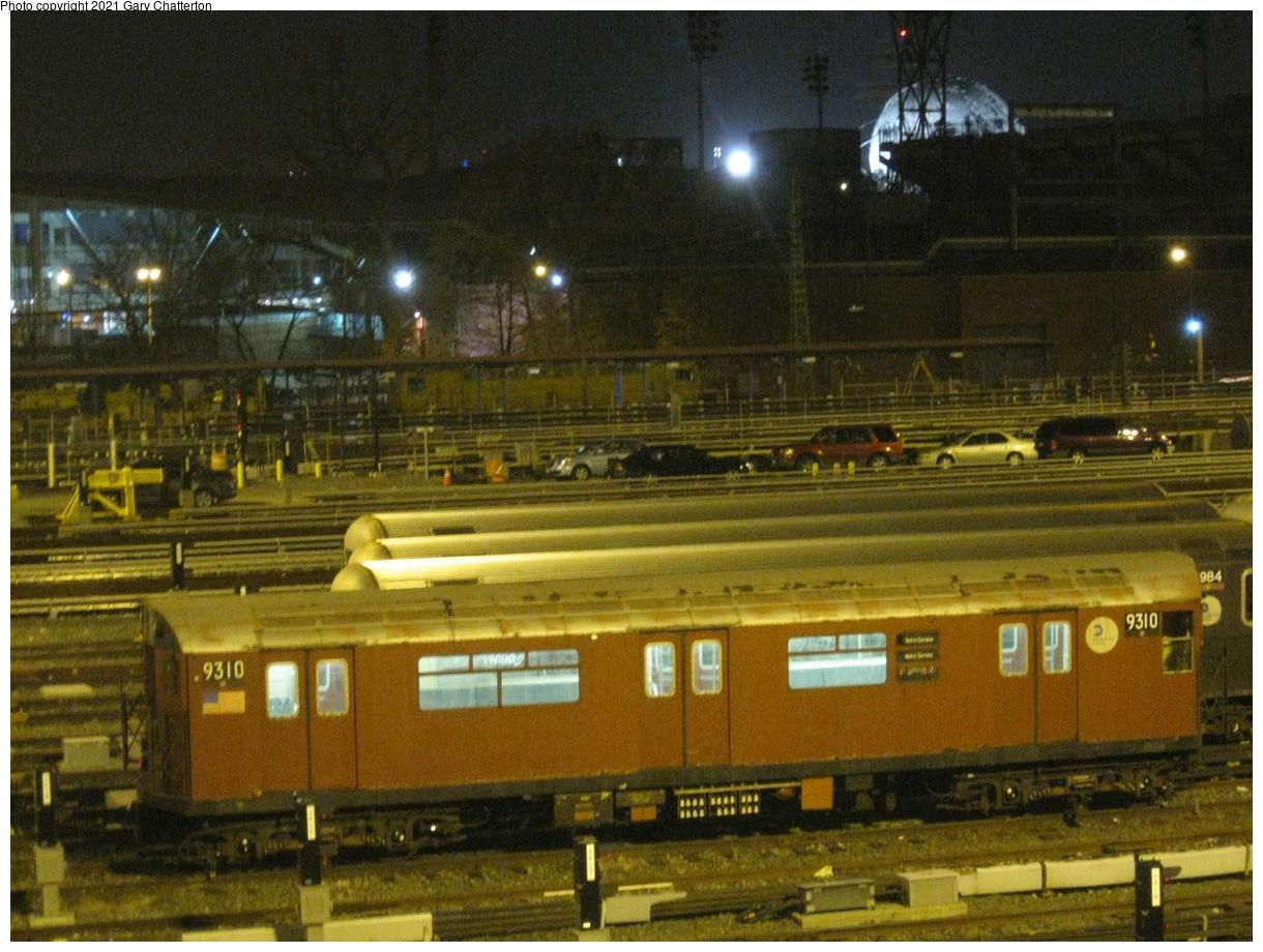 (430k, 1220x920)<br><b>Country:</b> United States<br><b>City:</b> New York<br><b>System:</b> New York City Transit<br><b>Location:</b> Corona Yard<br><b>Car:</b> R-33 World's Fair (St. Louis, 1963-64) 9310 <br><b>Photo by:</b> Gary Chatterton<br><b>Date:</b> 11/22/2010<br><b>Viewed (this week/total):</b> 0 / 163