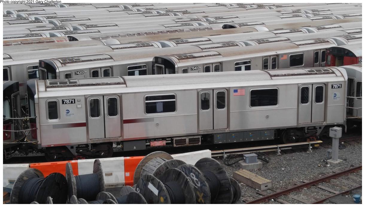 (309k, 1220x695)<br><b>Country:</b> United States<br><b>City:</b> New York<br><b>System:</b> New York City Transit<br><b>Location:</b> Corona Yard<br><b>Car:</b> R-188 (Kawasaki, 2012-) 7871 <br><b>Photo by:</b> Gary Chatterton<br><b>Date:</b> 3/25/2017<br><b>Viewed (this week/total):</b> 2 / 226