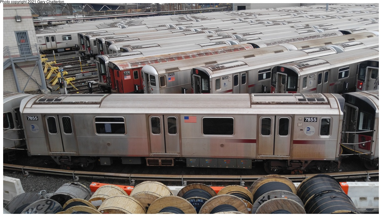 (355k, 1220x695)<br><b>Country:</b> United States<br><b>City:</b> New York<br><b>System:</b> New York City Transit<br><b>Location:</b> Corona Yard<br><b>Car:</b> R-188 (Kawasaki, 2012-) 7855 <br><b>Photo by:</b> Gary Chatterton<br><b>Date:</b> 3/25/2017<br><b>Viewed (this week/total):</b> 5 / 91