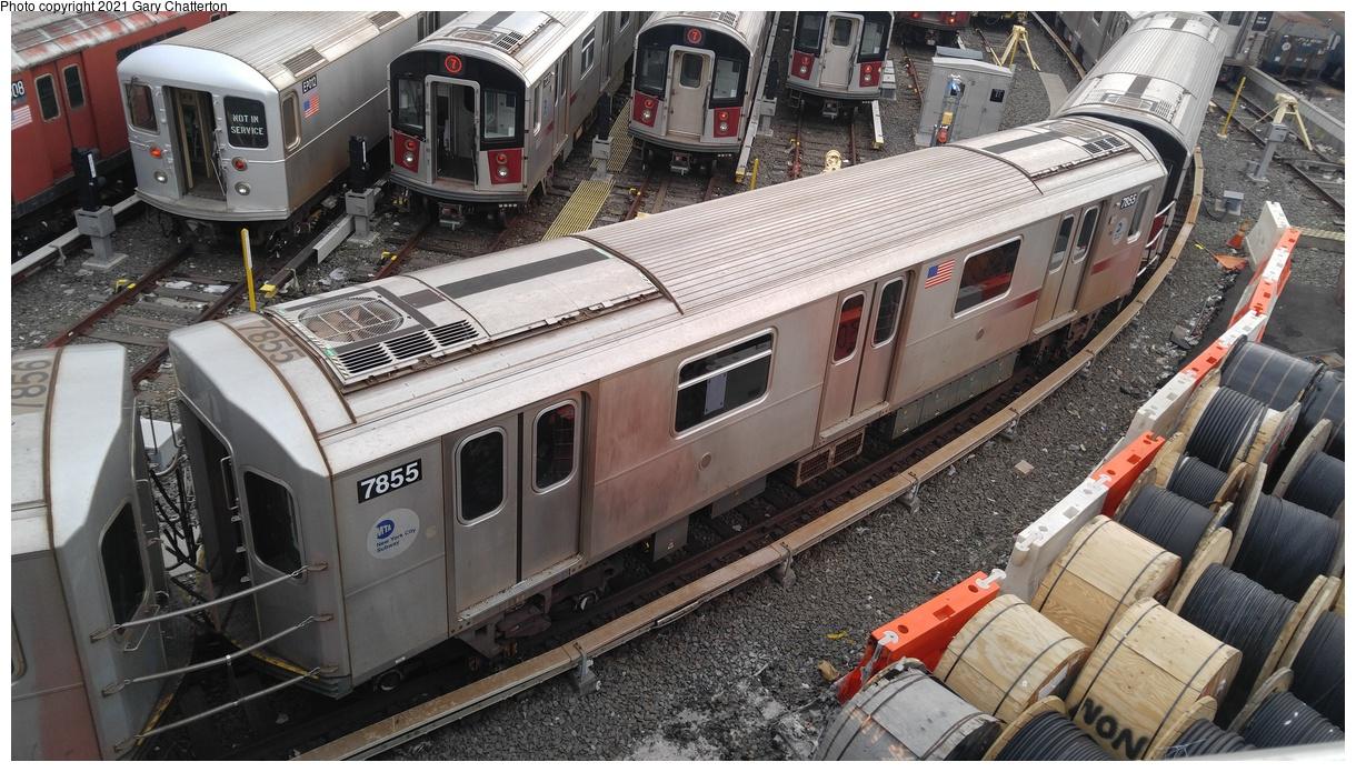 (393k, 1220x695)<br><b>Country:</b> United States<br><b>City:</b> New York<br><b>System:</b> New York City Transit<br><b>Location:</b> Corona Yard<br><b>Car:</b> R-188 (Kawasaki, 2012-) 7855 <br><b>Photo by:</b> Gary Chatterton<br><b>Date:</b> 3/25/2017<br><b>Viewed (this week/total):</b> 0 / 1352