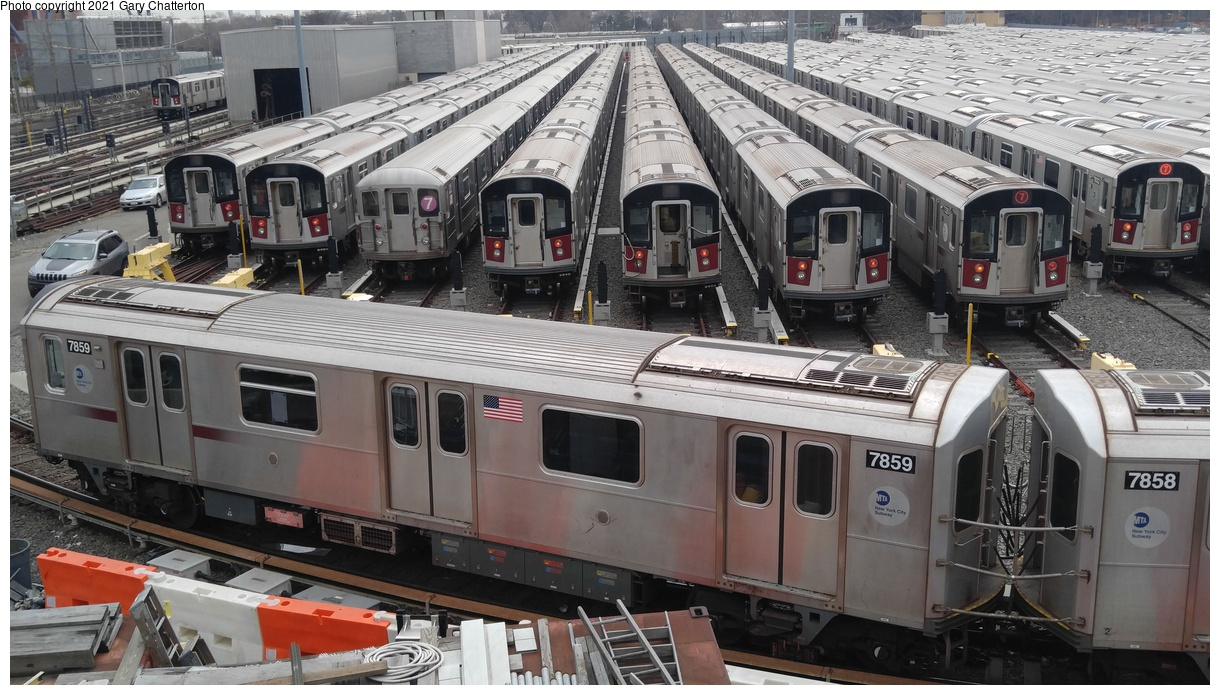 (356k, 1220x695)<br><b>Country:</b> United States<br><b>City:</b> New York<br><b>System:</b> New York City Transit<br><b>Location:</b> Corona Yard<br><b>Car:</b> R-188 (Kawasaki, 2012-) 7859 <br><b>Photo by:</b> Gary Chatterton<br><b>Date:</b> 3/25/2017<br><b>Viewed (this week/total):</b> 1 / 1207