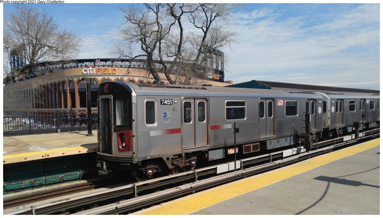 (357k, 1220x695)<br><b>Country:</b> United States<br><b>City:</b> New York<br><b>System:</b> New York City Transit<br><b>Line:</b> IRT Flushing Line<br><b>Location:</b> Willets Point/Mets (fmr. Shea Stadium)<br><b>Route:</b> 7<br><b>Car:</b> R-142A (Primary Order, Kawasaki, 1999-2002) 7451 <br><b>Photo by:</b> Gary Chatterton<br><b>Date:</b> 4/3/2017<br><b>Viewed (this week/total):</b> 19 / 155