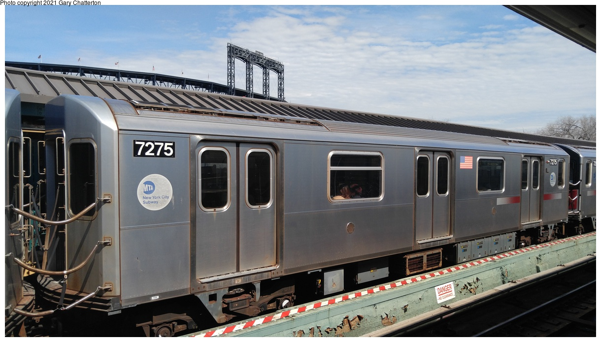 (289k, 1220x695)<br><b>Country:</b> United States<br><b>City:</b> New York<br><b>System:</b> New York City Transit<br><b>Line:</b> IRT Flushing Line<br><b>Location:</b> Willets Point/Mets (fmr. Shea Stadium)<br><b>Route:</b> 7<br><b>Car:</b> R-142A (Primary Order, Kawasaki, 1999-2002) 7275 <br><b>Photo by:</b> Gary Chatterton<br><b>Date:</b> 4/3/2017<br><b>Viewed (this week/total):</b> 18 / 111