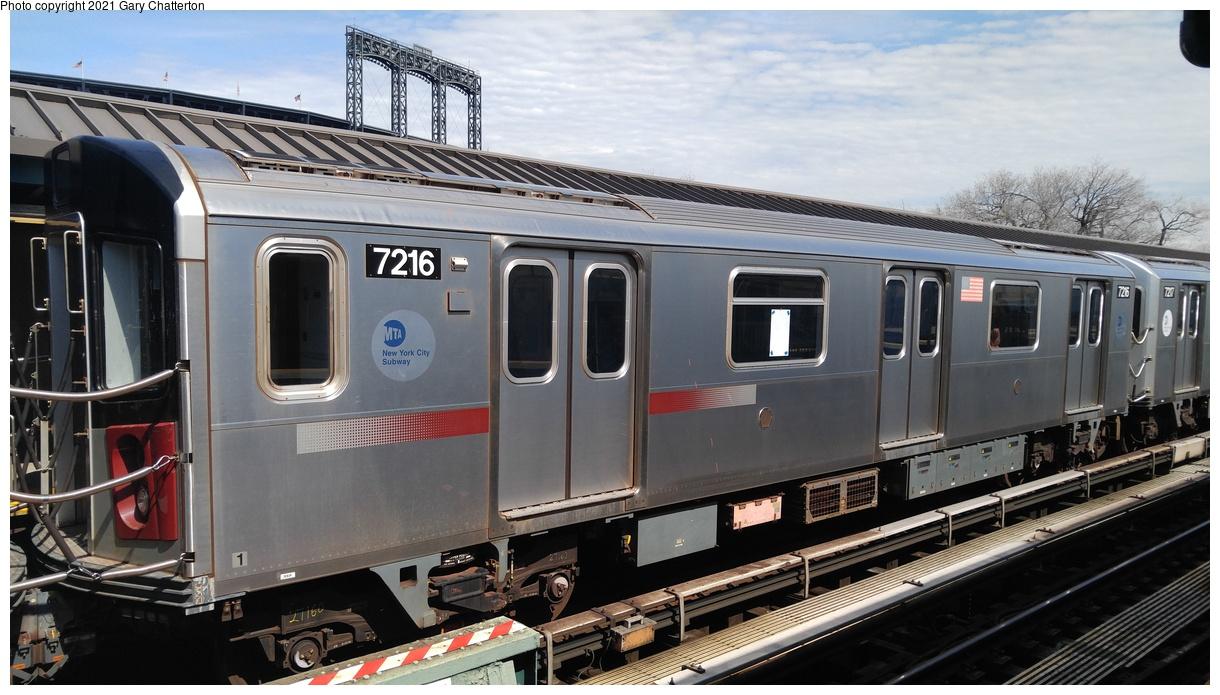 (306k, 1220x695)<br><b>Country:</b> United States<br><b>City:</b> New York<br><b>System:</b> New York City Transit<br><b>Line:</b> IRT Flushing Line<br><b>Location:</b> Willets Point/Mets (fmr. Shea Stadium)<br><b>Route:</b> 7<br><b>Car:</b> R-142A (Primary Order, Kawasaki, 1999-2002) 7216 <br><b>Photo by:</b> Gary Chatterton<br><b>Date:</b> 4/3/2017<br><b>Viewed (this week/total):</b> 110 / 494