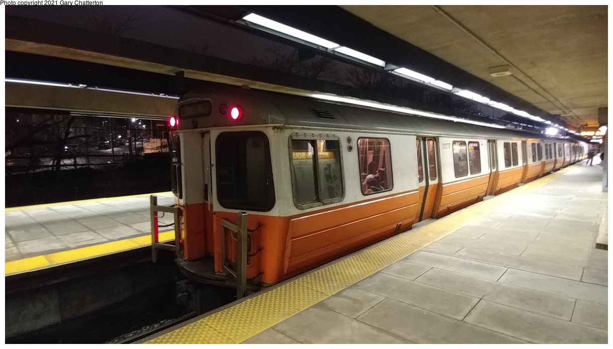 (304k, 1220x695)<br><b>Country:</b> United States<br><b>City:</b> Boston, MA<br><b>System:</b> MBTA<br><b>Line:</b> MBTA Orange Line<br><b>Location:</b> Sullivan Square<br><b>Car:</b> MBTA 01200 Series (Hawker-Siddley, 1980-1981) 01277 <br><b>Photo by:</b> Gary Chatterton<br><b>Date:</b> 4/25/2018<br><b>Viewed (this week/total):</b> 1 / 26