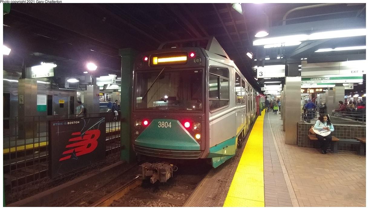(314k, 1220x695)<br><b>Country:</b> United States<br><b>City:</b> Boston, MA<br><b>System:</b> MBTA<br><b>Line:</b> MBTA Green<br><b>Location:</b> Park Street<br><b>Car:</b> MBTA Type 8 LRV (Breda, 1998-2006) 3804 <br><b>Photo by:</b> Gary Chatterton<br><b>Date:</b> 4/27/2018<br><b>Viewed (this week/total):</b> 4 / 45