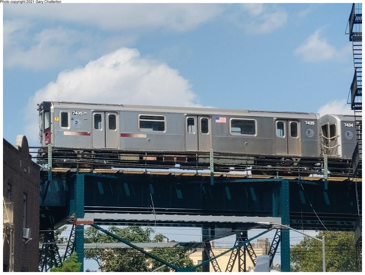 (1058k, 1220x920)<br><b>Country:</b> United States<br><b>City:</b> New York<br><b>System:</b> New York City Transit<br><b>Line:</b> IRT Flushing Line<br><b>Location:</b> 61st Street/Woodside<br><b>Route:</b> 7<br><b>Car:</b> R-142A (Primary Order, Kawasaki, 1999-2002) 7435 <br><b>Photo by:</b> Gary Chatterton<br><b>Date:</b> 8/28/2020<br><b>Viewed (this week/total):</b> 0 / 295