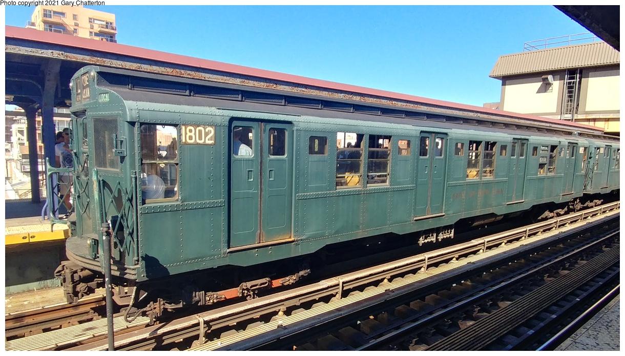 (413k, 1220x695)<br><b>Country:</b> United States<br><b>City:</b> New York<br><b>System:</b> New York City Transit<br><b>Line:</b> BMT Brighton Line<br><b>Location:</b> Brighton Beach<br><b>Route:</b> Museum Train Service<br><b>Car:</b> R-9 (Pressed Steel, 1940) 1802 <br><b>Photo by:</b> Gary Chatterton<br><b>Date:</b> 9/29/2019<br><b>Viewed (this week/total):</b> 0 / 279