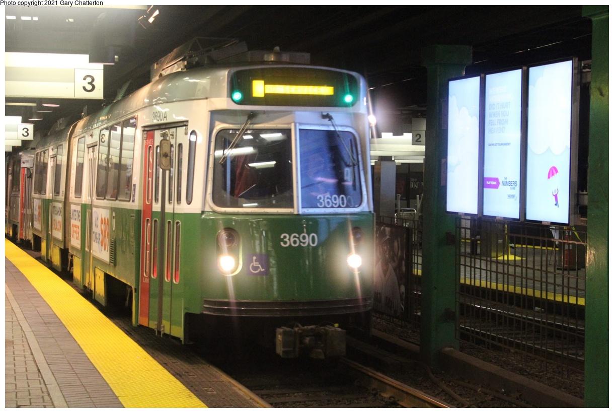 (314k, 1220x820)<br><b>Country:</b> United States<br><b>City:</b> Boston, MA<br><b>System:</b> MBTA<br><b>Line:</b> MBTA Green<br><b>Location:</b> Park Street<br><b>Car:</b> MBTA Type 7 LRV (Kinki-Sharyo, 1986-87) 3690 <br><b>Photo by:</b> Gary Chatterton<br><b>Date:</b> 4/27/2018<br><b>Viewed (this week/total):</b> 5 / 39