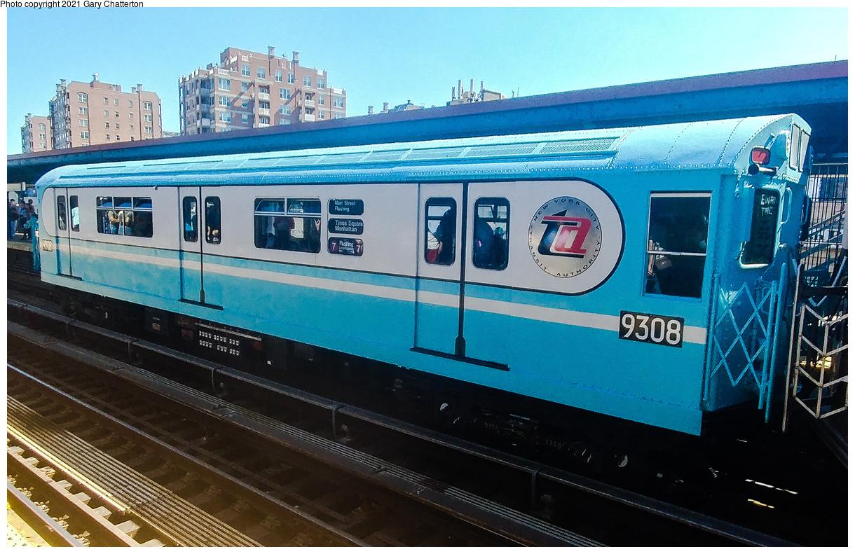 (530k, 1220x791)<br><b>Country:</b> United States<br><b>City:</b> New York<br><b>System:</b> New York City Transit<br><b>Line:</b> BMT Brighton Line<br><b>Location:</b> Brighton Beach<br><b>Route:</b> Museum Train Service<br><b>Car:</b> R-33 World's Fair (St. Louis, 1963-64) 9308 <br><b>Photo by:</b> Gary Chatterton<br><b>Date:</b> 9/29/2019<br><b>Viewed (this week/total):</b> 20 / 139