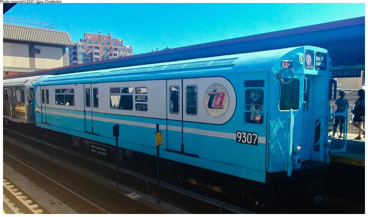 (449k, 1220x721)<br><b>Country:</b> United States<br><b>City:</b> New York<br><b>System:</b> New York City Transit<br><b>Line:</b> BMT Brighton Line<br><b>Location:</b> Brighton Beach<br><b>Route:</b> Museum Train Service<br><b>Car:</b> R-33 World's Fair (St. Louis, 1963-64) 9307 <br><b>Photo by:</b> Gary Chatterton<br><b>Date:</b> 9/29/2019<br><b>Viewed (this week/total):</b> 0 / 298