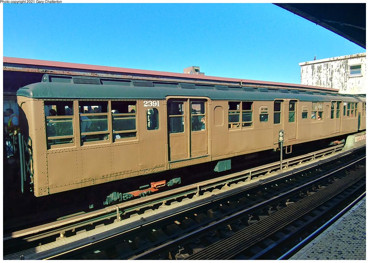 (514k, 1220x870)<br><b>Country:</b> United States<br><b>City:</b> New York<br><b>System:</b> New York City Transit<br><b>Line:</b> BMT Brighton Line<br><b>Location:</b> Brighton Beach<br><b>Route:</b> Museum Train Service<br><b>Car:</b> BMT A/B-Type Standard 2391 <br><b>Photo by:</b> Gary Chatterton<br><b>Date:</b> 9/29/2019<br><b>Viewed (this week/total):</b> 15 / 122