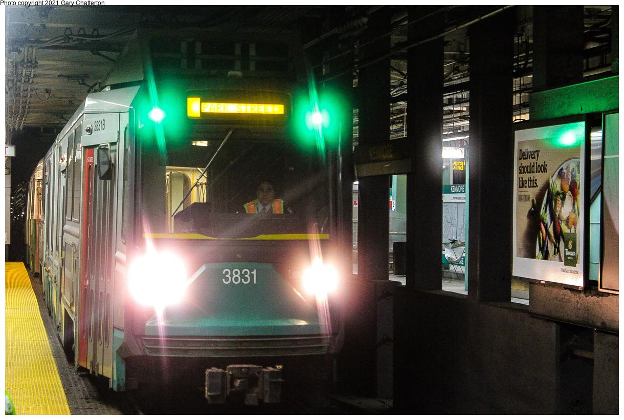 (513k, 1220x820)<br><b>Country:</b> United States<br><b>City:</b> Boston, MA<br><b>System:</b> MBTA<br><b>Line:</b> MBTA Green (D)<br><b>Location:</b> Fenway<br><b>Car:</b> MBTA Type 8 LRV (Breda, 1998-2006) 3831 <br><b>Photo by:</b> Gary Chatterton<br><b>Date:</b> 4/27/2018<br><b>Viewed (this week/total):</b> 7 / 46