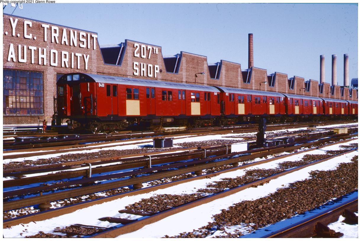 (459k, 1220x816)<br><b>Country:</b> United States<br><b>City:</b> New York<br><b>System:</b> New York City Transit<br><b>Location:</b> 207th Street Yard<br><b>Car:</b> R-30 (St. Louis, 1961) 8481-8522/8445-8556 <br><b>Photo by:</b> Glenn L. Rowe<br><b>Date:</b> 1/22/1991<br><b>Notes:</b> These cars would be later used as school cars.<br><b>Viewed (this week/total):</b> 6 / 157
