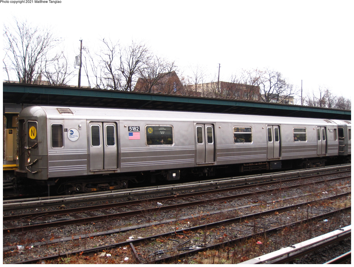 (484k, 1220x920)<br><b>Country:</b> United States<br><b>City:</b> New York<br><b>System:</b> New York City Transit<br><b>Line:</b> BMT Sea Beach Line<br><b>Location:</b> Fort Hamilton Parkway<br><b>Route:</b> N<br><b>Car:</b> R-68A (Kawasaki, 1988-1989) 5182 <br><b>Photo by:</b> Matthew Tanglao<br><b>Date:</b> 2/11/2020<br><b>Viewed (this week/total):</b> 4 / 67