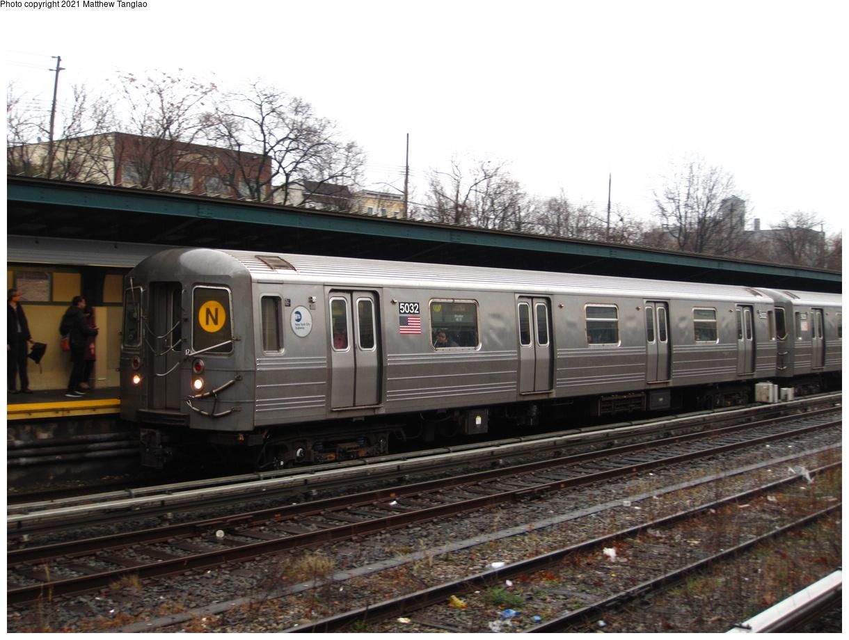 (401k, 1220x920)<br><b>Country:</b> United States<br><b>City:</b> New York<br><b>System:</b> New York City Transit<br><b>Line:</b> BMT Sea Beach Line<br><b>Location:</b> Fort Hamilton Parkway<br><b>Route:</b> N<br><b>Car:</b> R-68A (Kawasaki, 1988-1989) 5032 <br><b>Photo by:</b> Matthew Tanglao<br><b>Date:</b> 2/11/2020<br><b>Viewed (this week/total):</b> 0 / 212