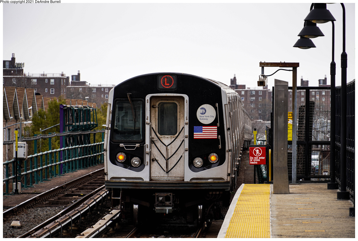 (473k, 1220x820)<br><b>Country:</b> United States<br><b>City:</b> New York<br><b>System:</b> New York City Transit<br><b>Line:</b> BMT Canarsie Line<br><b>Location:</b> New Lots Avenue<br><b>Route:</b> L<br><b>Car:</b> R-143 (Kawasaki, 2001-2002) 8205 <br><b>Photo by:</b> DeAndre Burrell<br><b>Date:</b> 4/9/2021<br><b>Viewed (this week/total):</b> 6 / 163