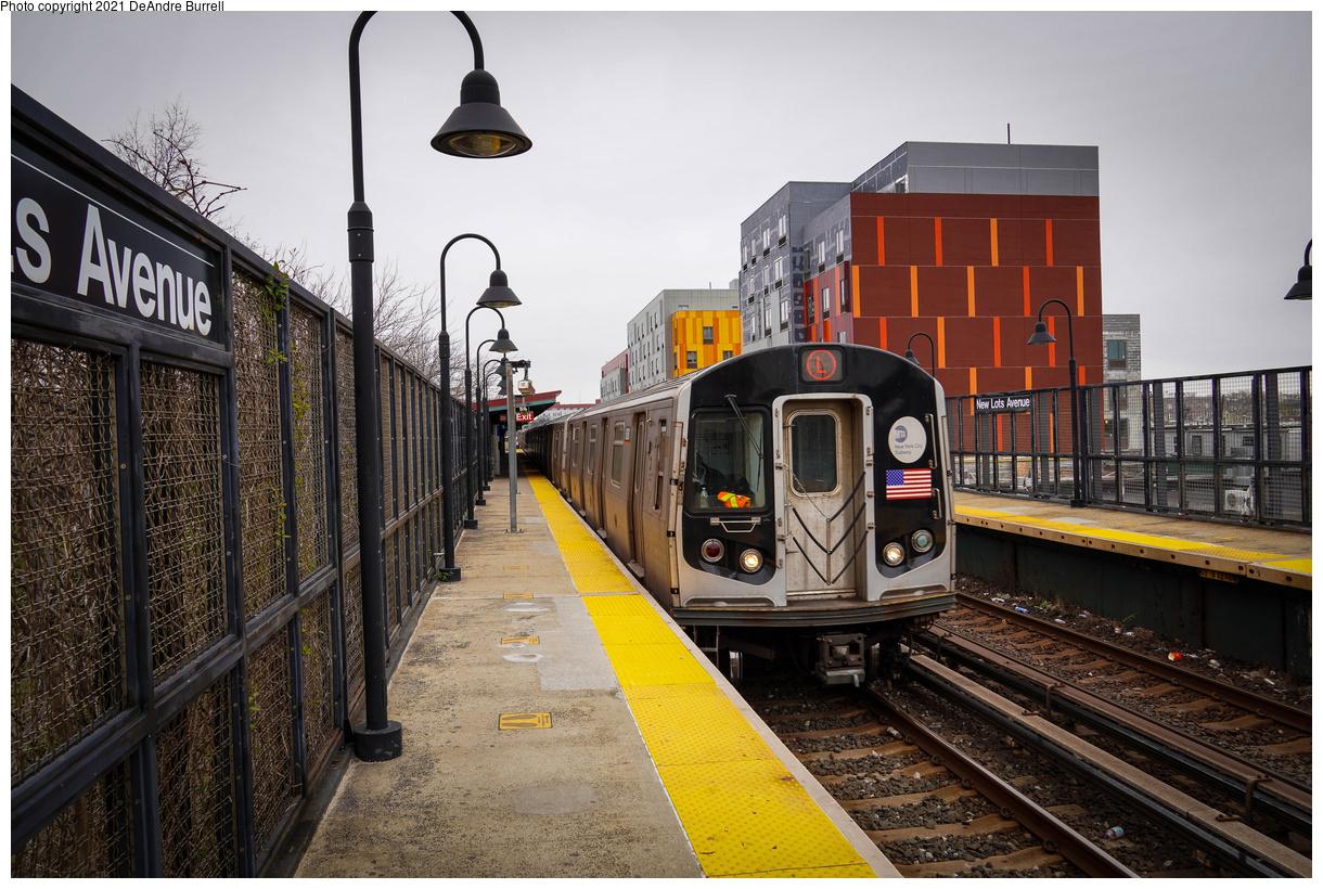 (551k, 1220x820)<br><b>Country:</b> United States<br><b>City:</b> New York<br><b>System:</b> New York City Transit<br><b>Line:</b> BMT Canarsie Line<br><b>Location:</b> New Lots Avenue<br><b>Route:</b> L<br><b>Car:</b> R-143 (Kawasaki, 2001-2002) 8161 <br><b>Photo by:</b> DeAndre Burrell<br><b>Date:</b> 4/9/2021<br><b>Viewed (this week/total):</b> 1 / 396
