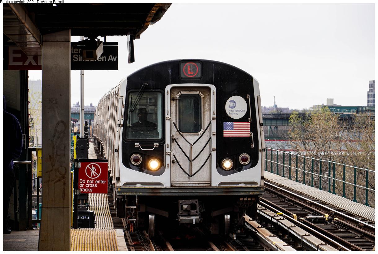 (507k, 1220x820)<br><b>Country:</b> United States<br><b>City:</b> New York<br><b>System:</b> New York City Transit<br><b>Line:</b> BMT Canarsie Line<br><b>Location:</b> Sutter Avenue<br><b>Route:</b> L<br><b>Car:</b> R-143 (Kawasaki, 2001-2002) 8210 <br><b>Photo by:</b> DeAndre Burrell<br><b>Date:</b> 4/9/2021<br><b>Viewed (this week/total):</b> 7 / 132