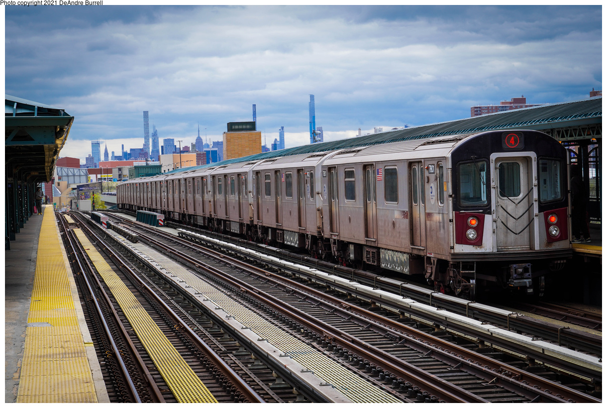 (591k, 1220x820)<br><b>Country:</b> United States<br><b>City:</b> New York<br><b>System:</b> New York City Transit<br><b>Line:</b> IRT Woodlawn Line<br><b>Location:</b> 161st Street-River Avenue (Yankee Stadium)<br><b>Route:</b> 4<br><b>Car:</b> R-142A (Primary Order, Kawasaki, 1999-2002) 7801 <br><b>Photo by:</b> DeAndre Burrell<br><b>Date:</b> 4/17/2021<br><b>Viewed (this week/total):</b> 0 / 272