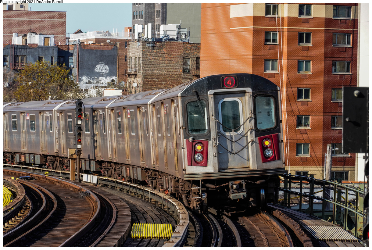 (668k, 1220x820)<br><b>Country:</b> United States<br><b>City:</b> New York<br><b>System:</b> New York City Transit<br><b>Line:</b> IRT Woodlawn Line<br><b>Location:</b> Bedford Park Boulevard<br><b>Route:</b> 4<br><b>Car:</b> R-142 (Primary Order, Bombardier, 1999-2002) 7150 <br><b>Photo by:</b> DeAndre Burrell<br><b>Date:</b> 4/23/2021<br><b>Viewed (this week/total):</b> 0 / 347