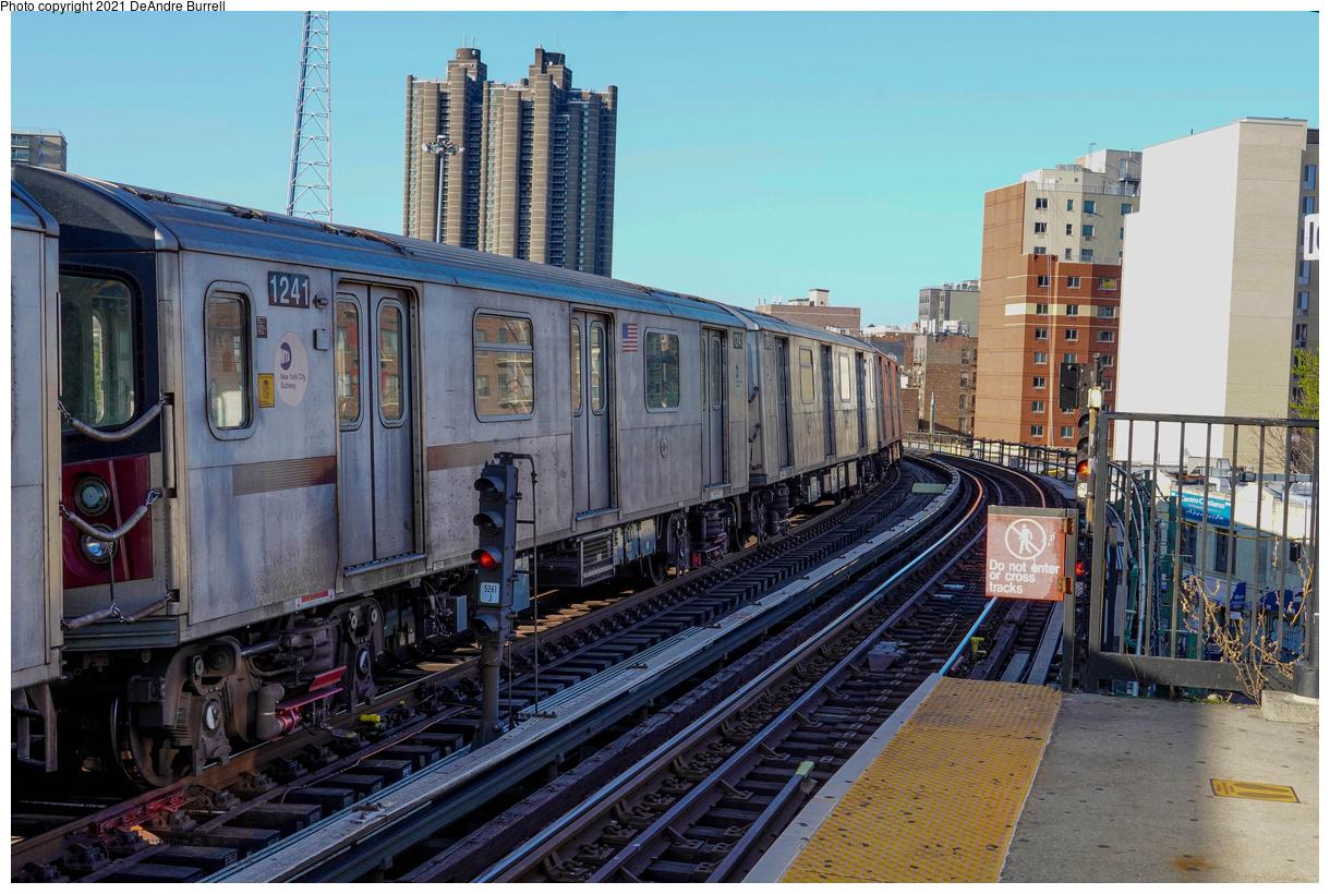 (566k, 1220x820)<br><b>Country:</b> United States<br><b>City:</b> New York<br><b>System:</b> New York City Transit<br><b>Line:</b> IRT Woodlawn Line<br><b>Location:</b> Bedford Park Boulevard<br><b>Route:</b> Layup<br><b>Car:</b> R-142 (Primary Order, Bombardier, 1999-2002) 1241-1245 <br><b>Photo by:</b> DeAndre Burrell<br><b>Date:</b> 4/23/2021<br><b>Viewed (this week/total):</b> 0 / 685