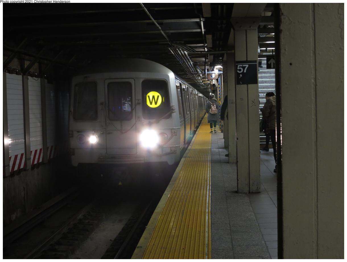 (284k, 1220x920)<br><b>Country:</b> United States<br><b>City:</b> New York<br><b>System:</b> New York City Transit<br><b>Line:</b> BMT Broadway Line<br><b>Location:</b> 57th Street<br><b>Route:</b> W<br><b>Car:</b> R-46 (Pullman-Standard, 1974-75)  <br><b>Photo by:</b> Christopher Henderson<br><b>Date:</b> 2/28/2020<br><b>Viewed (this week/total):</b> 14 / 55