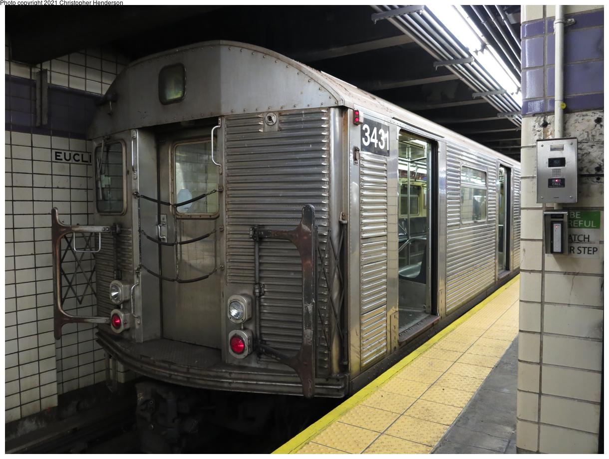 (403k, 1220x920)<br><b>Country:</b> United States<br><b>City:</b> New York<br><b>System:</b> New York City Transit<br><b>Line:</b> IND Fulton Street Line<br><b>Location:</b> Euclid Avenue<br><b>Route:</b> C<br><b>Car:</b> R-32 (Budd, 1964) 3431 <br><b>Photo by:</b> Christopher Henderson<br><b>Date:</b> 3/2/2020<br><b>Viewed (this week/total):</b> 1 / 111