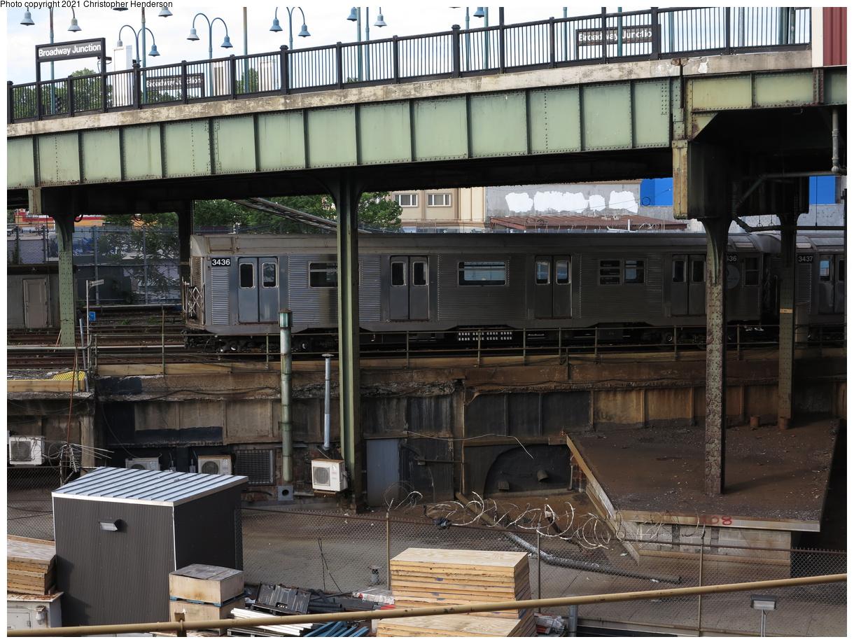 (487k, 1220x920)<br><b>Country:</b> United States<br><b>City:</b> New York<br><b>System:</b> New York City Transit<br><b>Location:</b> East New York Yard/Shops<br><b>Car:</b> R-32 (Budd, 1964) 3436 <br><b>Photo by:</b> Christopher Henderson<br><b>Date:</b> 6/10/2020<br><b>Notes:</b> R32 waiting to reenter service due to R179 issues<br><b>Viewed (this week/total):</b> 21 / 93