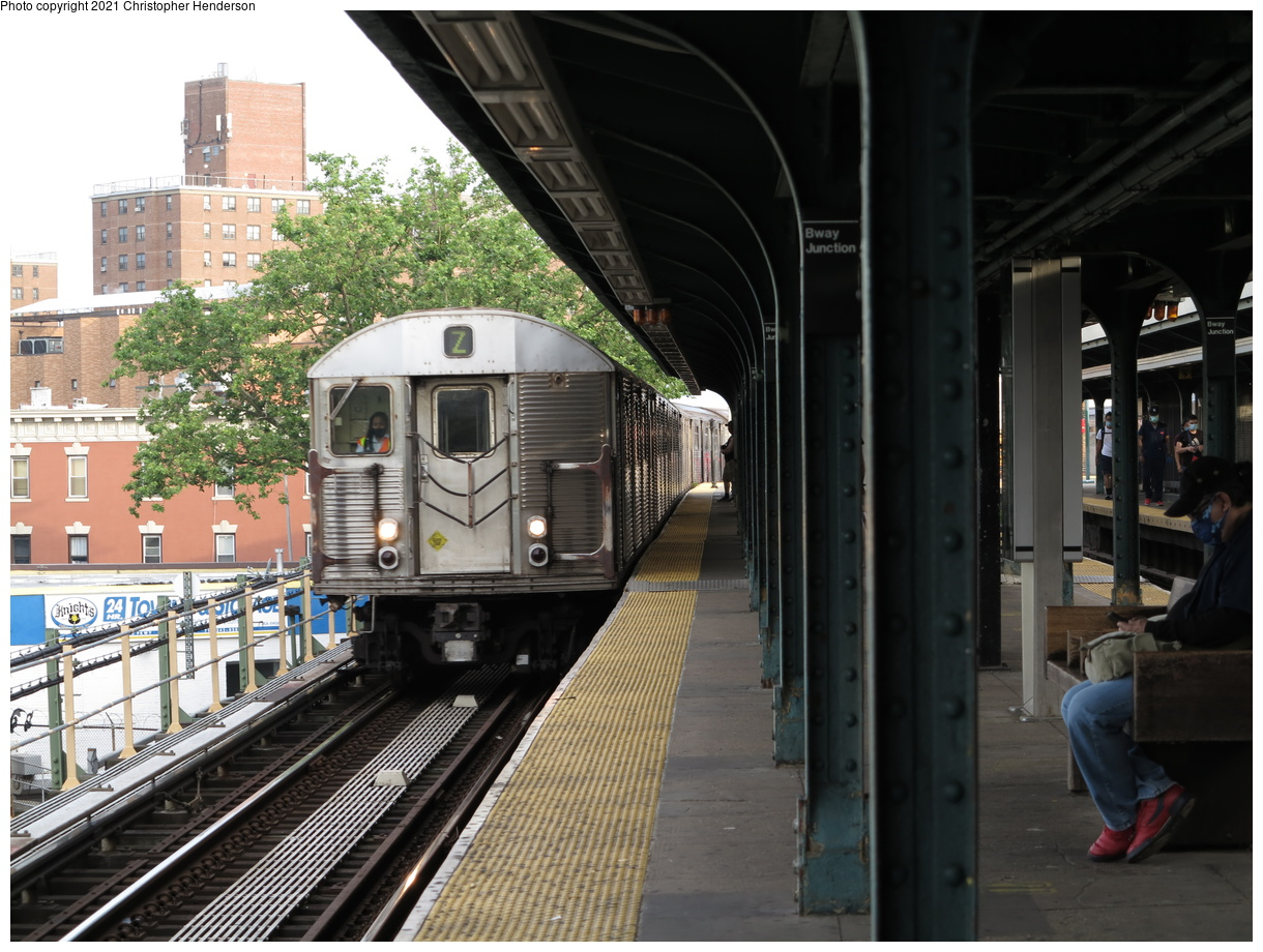 (427k, 1220x920)<br><b>Country:</b> United States<br><b>City:</b> New York<br><b>System:</b> New York City Transit<br><b>Line:</b> BMT Nassau Street-Jamaica Line<br><b>Location:</b> Broadway/East New York (Broadway Junction)<br><b>Route:</b> Z<br><b>Car:</b> R-32 (Budd, 1964) 3810 <br><b>Photo by:</b> Christopher Henderson<br><b>Date:</b> 7/1/2020<br><b>Notes:</b> First R32 train to reenter service from retirement due to R179 issues<br><b>Viewed (this week/total):</b> 2 / 116
