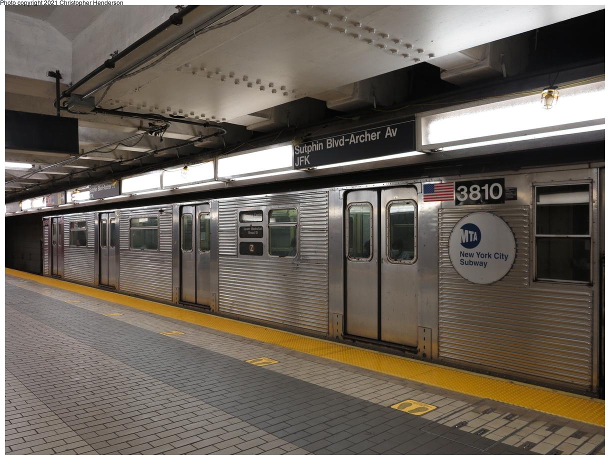 (418k, 1220x920)<br><b>Country:</b> United States<br><b>City:</b> New York<br><b>System:</b> New York City Transit<br><b>Line:</b> BMT Nassau Street-Jamaica Line<br><b>Location:</b> Sutphin Blvd.-Archer Ave./JFK<br><b>Route:</b> Z<br><b>Car:</b> R-32 (Budd, 1964) 3810 <br><b>Photo by:</b> Christopher Henderson<br><b>Date:</b> 7/1/2020<br><b>Viewed (this week/total):</b> 1 / 112