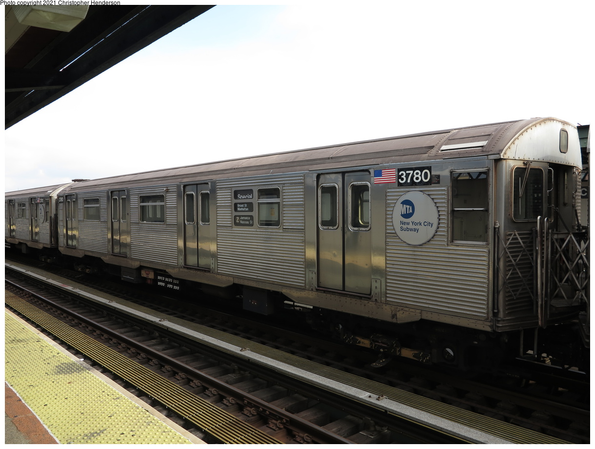 (354k, 1220x920)<br><b>Country:</b> United States<br><b>City:</b> New York<br><b>System:</b> New York City Transit<br><b>Line:</b> BMT Nassau Street-Jamaica Line<br><b>Location:</b> Chauncey Street<br><b>Route:</b> Z<br><b>Car:</b> R-32 (Budd, 1964) 3780 <br><b>Photo by:</b> Christopher Henderson<br><b>Date:</b> 7/1/2020<br><b>Viewed (this week/total):</b> 7 / 32