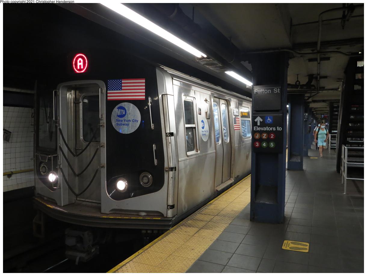(308k, 1220x920)<br><b>Country:</b> United States<br><b>City:</b> New York<br><b>System:</b> New York City Transit<br><b>Line:</b> IND 8th Avenue Line<br><b>Location:</b> Fulton Street (Broadway/Nassau)<br><b>Route:</b> A<br><b>Car:</b> R-160B (Option 2) (Kawasaki, 2009) 9833 <br><b>Photo by:</b> Christopher Henderson<br><b>Date:</b> 7/1/2020<br><b>Viewed (this week/total):</b> 8 / 35