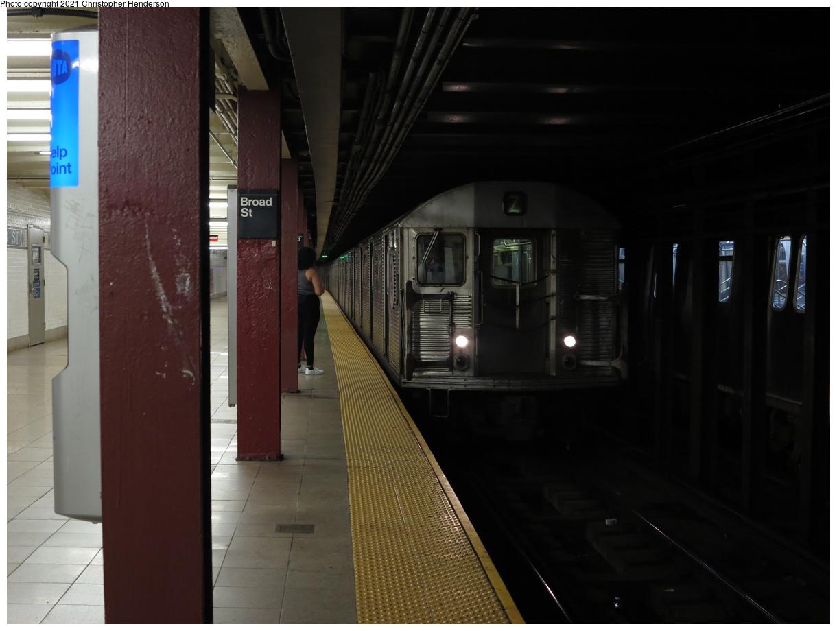 (291k, 1220x920)<br><b>Country:</b> United States<br><b>City:</b> New York<br><b>System:</b> New York City Transit<br><b>Line:</b> BMT Nassau Street-Jamaica Line<br><b>Location:</b> Broad Street<br><b>Route:</b> Z<br><b>Car:</b> R-32 (Budd, 1964) 3671 <br><b>Photo by:</b> Christopher Henderson<br><b>Date:</b> 7/2/2020<br><b>Viewed (this week/total):</b> 4 / 28